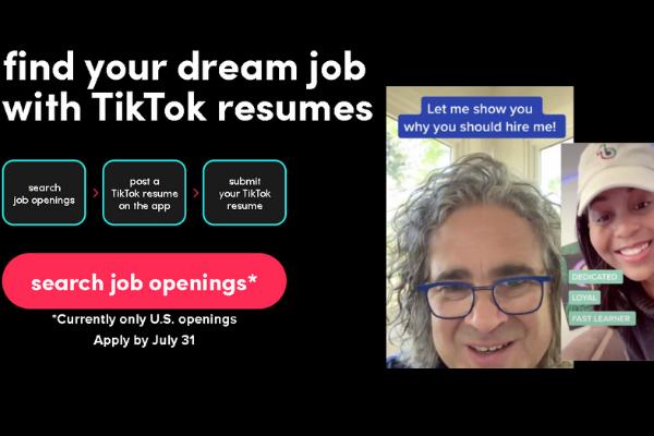การสมัครงานได้ ซึ่ง Tiktok Resume